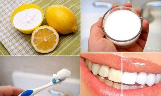 Làm trắng răng bằngbaking soda với chanh