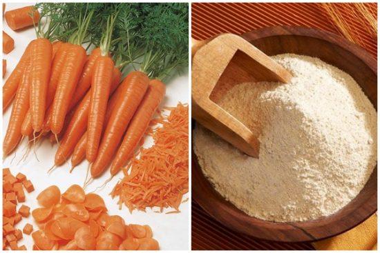 Mặt nạ trị mụn cà rốt và bột mỳ