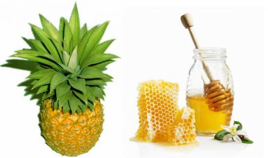 Tẩy tế bào vùng mặt với dứa và  mật ong